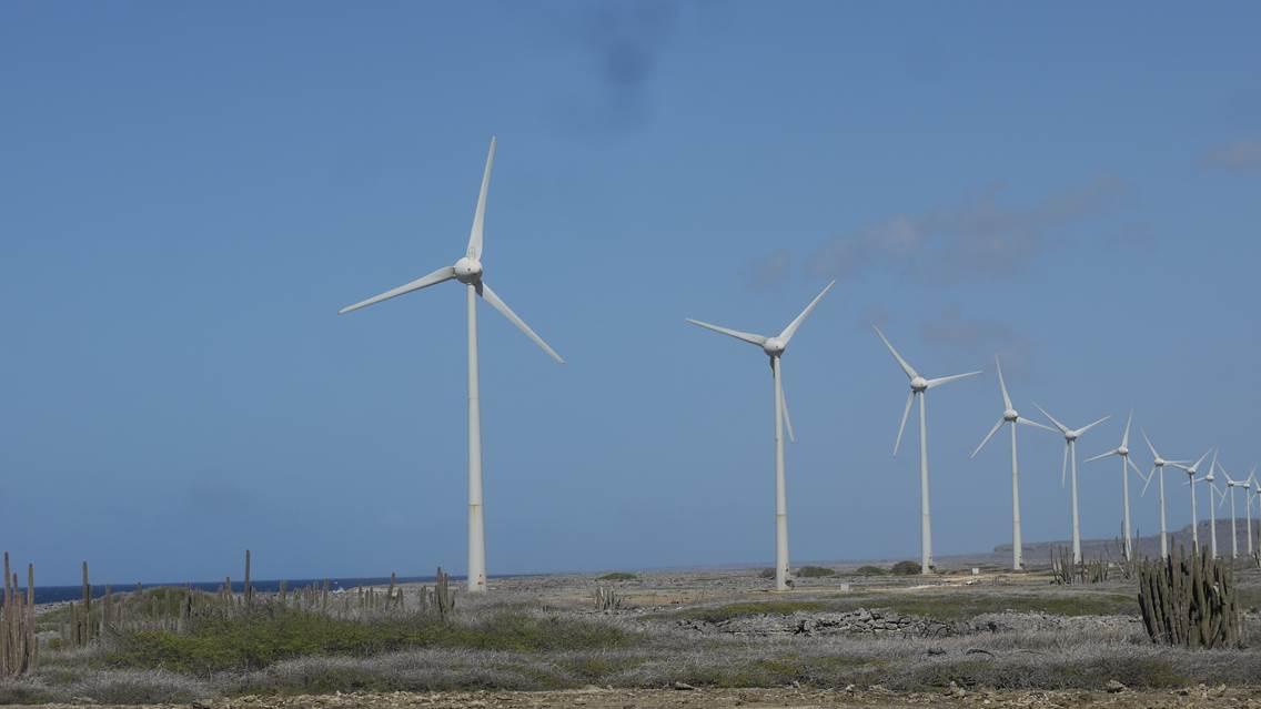 What percentage of the electricity demand on Bonaire is generated by the windmills?